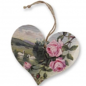 Wooden heart printed with Roses and Swans 13 cm