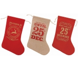 Christmas stocking for gifts, made of jute 1 piece