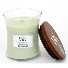 WoodWick Sweet Lime Gelato - Sladká zmrzlina vonná svíčka s dřevěným knotem a víčkem sklo střední 275 g