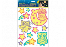 Room Decor Stickers glowing in the dark owl 35 x 28 cm
