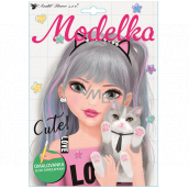 Coloring book with stickers Model with a cat 25 x 18 cm
