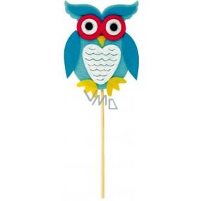 Felt owl blue recess 9 cm + skewers