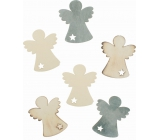 Dřevění andělé 6 cm 6 kusů