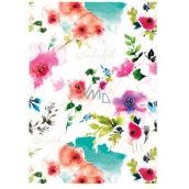 Ditipo Wrapping paper white, red flowers 100 x 70 cm 2 pieces