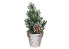 Decoration Christmas twig in a pot-silver