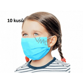 Veil 3-layer protective non-woven disposable, low breathing resistance for children 10 pieces light blue without print