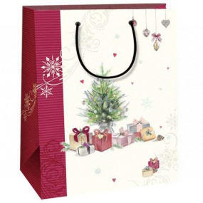 Ditipo Gift kraft bag 18 x 8 x 24 cm white wine stripe tree with gifts 50