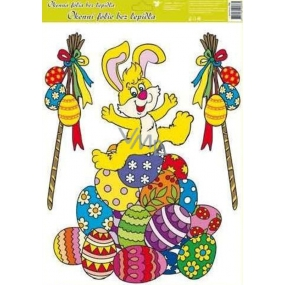 Room Decor Window foil without glue Easter yellow hare on a pile of Easter eggs 42 x 30 cm