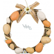 Wicker wreath with brown plastic eggs 25 cm