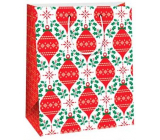Ditipo Gift paper bag 26.4 x 13.6 x 32.7 cm white red ornaments AB