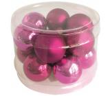 Glass flasks dark pink set 2.5 cm, 12 pieces