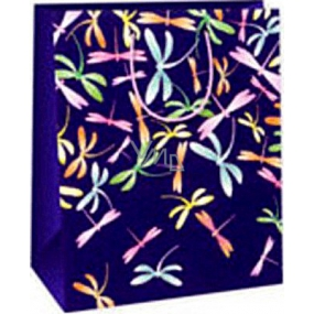 Ditipo Gift paper bag 26.4 x 13.7 x 32.4 cm purple colored dragonflies