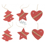 Knitted red decoration for hanging 6 pieces in a bag