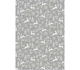Ditipo Gift wrapping paper 70 x 200 cm Christmas silver deer trees snowflakes