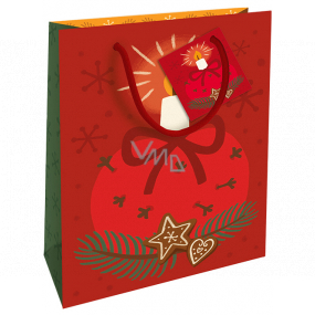 Nekupto Gift paper bag 23 x 18 x 10 cm Christmas red with candle WBM 1932 30