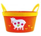 Basket of felt orange with white sheep 22 cm
