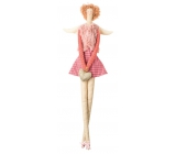 Fabric angel in a gold-pink vest for hanging 43 cm