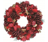 Wreath big red with cinnamon 40 cm