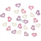 Wooden hearts 2 cm, 24 pcs