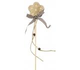 Wooden decoration 8 cm + spade flower