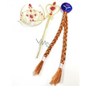 Rappa Hairpiece with accessories for Princess Anicka, gold set, dark hairpiece with crown and wand
