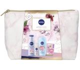 Nivea Pink Power body lotion 200 ml + shower gel 250 ml + antiperspirant deodorant roll-on 50 ml + Labello lip balm 4.8 g + case, cosmetic set for women