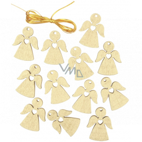 Angel wooden hanging gold 3 cm 12 pieces