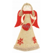 Jute angel with red heart wings on standing 19 cm