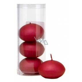 Floating candle metal burgundy in a tube 50 x 120 mm 4 pieces