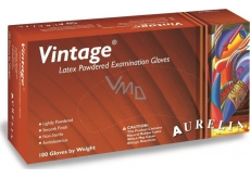 Aurelia Vitage disposable latex gloves with powder size L box 100 pieces