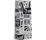 Nekupto Gift paper bottle bag 10 x 33 x 9 cm Black and white with letters 1895 02 KFLH