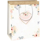 Ditipo Gift paper bag 11.4 x 6.4 x 14.6 cm white with heart