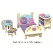 Mini Dream Home Wooden puzzle furniture of dreams 05 bedroom with bookcase 20 x 15 cm