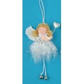 Anděl hebký s rolničkou na zavěšení č.1 12 cm
