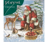 Forest Christmas paper napkins Santa and walnuts 1 layer 33 x 33 cm 20 pieces