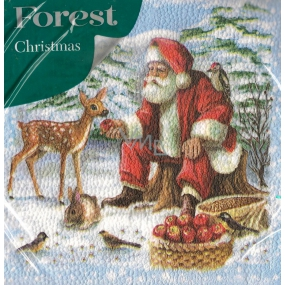 Forest Paper napkins 1 ply 33 x 33 cm 20 pieces Christmas Santa and doe