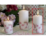 Lima Motif Rose with flamingo candle white cylinder 50 x 100 mm 1 piece