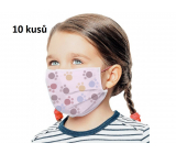 3-layer protective medical non-woven disposable, low respiratory resistance for children 10 pieces pink paw print