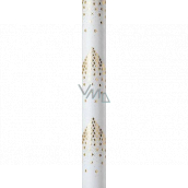 Zöwie Gift wrapping paper 70 x 150 cm Christmas Luxury White Christmas with embossed white gold stars in the shape of a tree