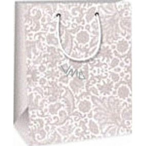 Ditipo Gift paper bag 18 x 10 x 22.7 cm gray lace pattern