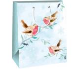 Ditipo Gift paper bag 26.4 x 13.6 x 32.7 cm light blue birds