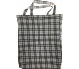 Checkered shopping bag gray-black 41 x 34 x 4 cm 9934