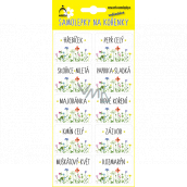 Arch Stickers for spices in a blister of meadow flowers 44 x 32 mm 75 pieces of labels