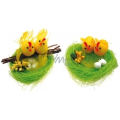 Green nest with 2 chickens 10 cm