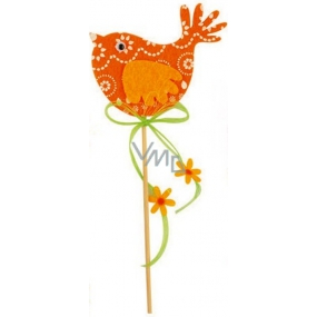 Felt bird orange-white decor recess 7 cm + skewers
