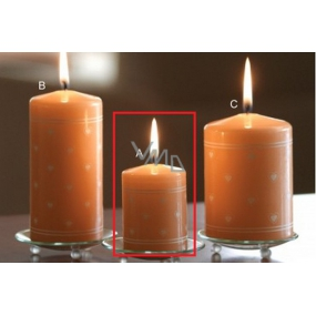 Lima Heart print candle salmon cylinder 50 x 70 mm 1 piece