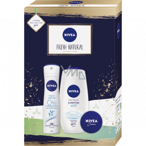 Nivea Fresh Natural deodorant spray 150 ml + shower gel 250 ml + cream 30 ml, cosmetic set for women