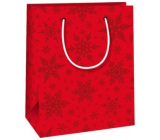 Ditipo Gift paper bag 11.5 x 6.5 x 14.5 cm red snowflakes E