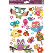 Room Decor Window foil without glue bird on a booth with owls 30 x 20 cm