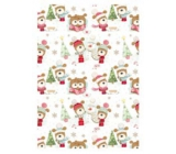 Ditipo Gift wrapping paper 70 x 200 cm Christmas white tree and dog in a hat